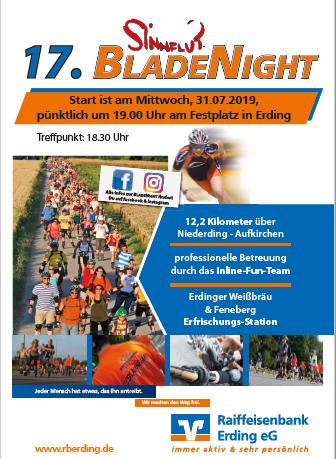 Sinnflut Bladenight 2019 am 31.07.2019, Start um 19 Uhr am Volksfestplatz Erding